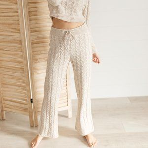Cozy Casual Cable Knit Sweater Bottoms Lounge Pants